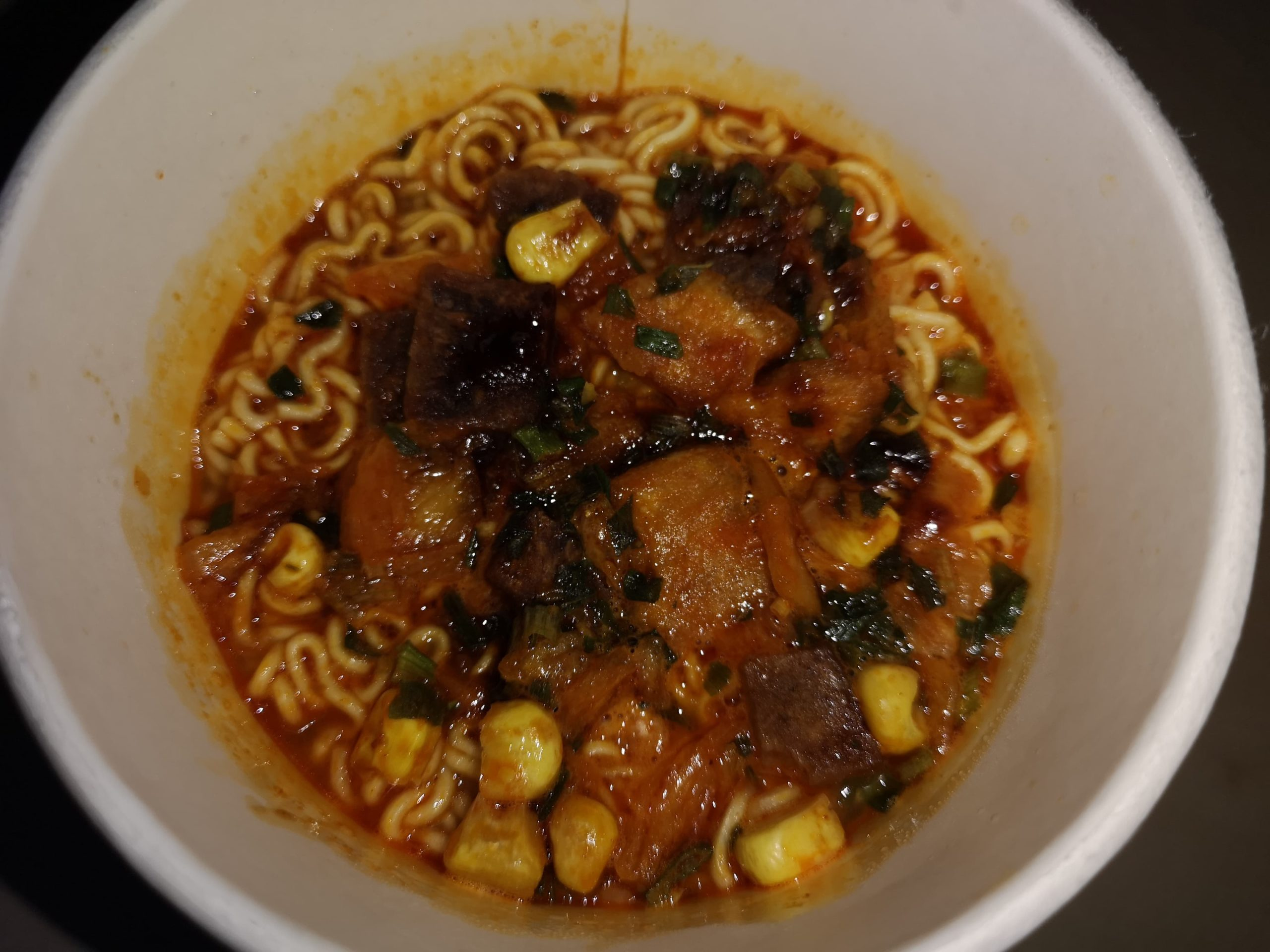 "#1826: Unif Tangdaren Instant Noodles ""Beef Taste Spicy Korean Style"" Cup"
