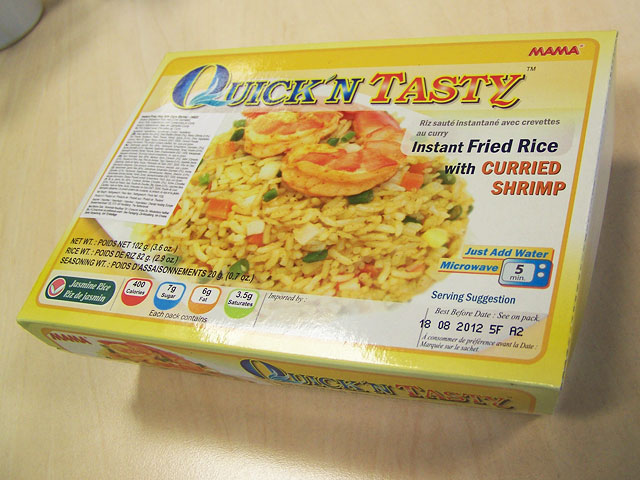 "#129: Mama ""Quick'n Tasty Instant Fried Rice with Curried Shrimp"""