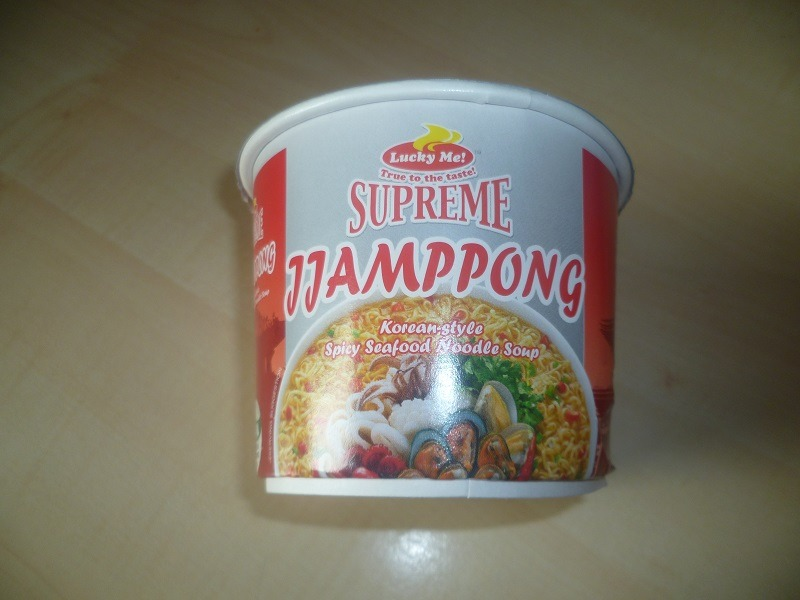 "#485: Lucky Me! Supreme ""Jjamppong Korean-Style Spicy Seafood Noodle Soup"" Mini-Cup"