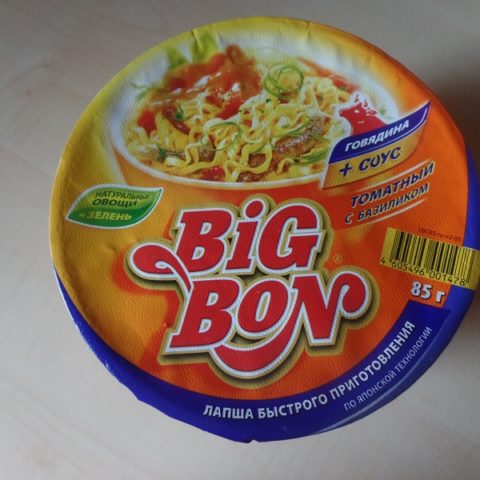 "#635: Big Bon Instant Noodles ""Beef + Sauce Tomato and Basil"" Cup"