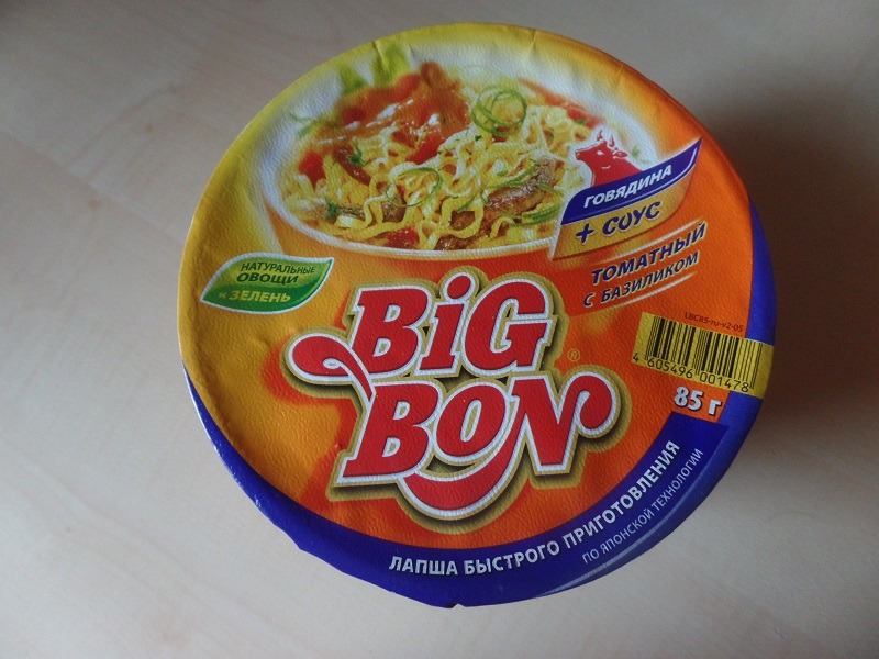 """#635: Big Bon Instant Noodles """"Beef + Sauce Tomato and Basil"""" Cup"""