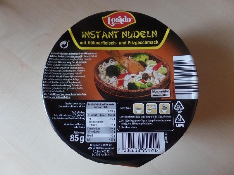 """#933: Lorado """"Instant Nudeln mit Hühnerfleisch- und Pilzgeschmack"""" (Bowl)"""