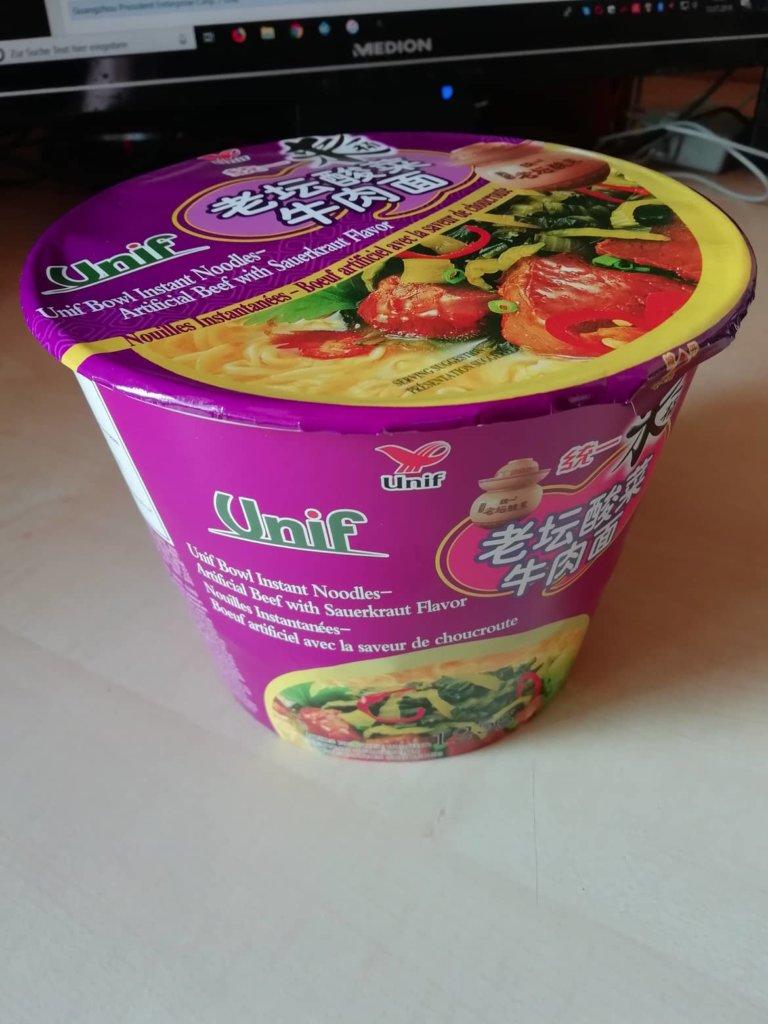 "#1615: Unif ""Bowl Instant Noodles - Artificial Beef with Sauerkraut Flavor"""
