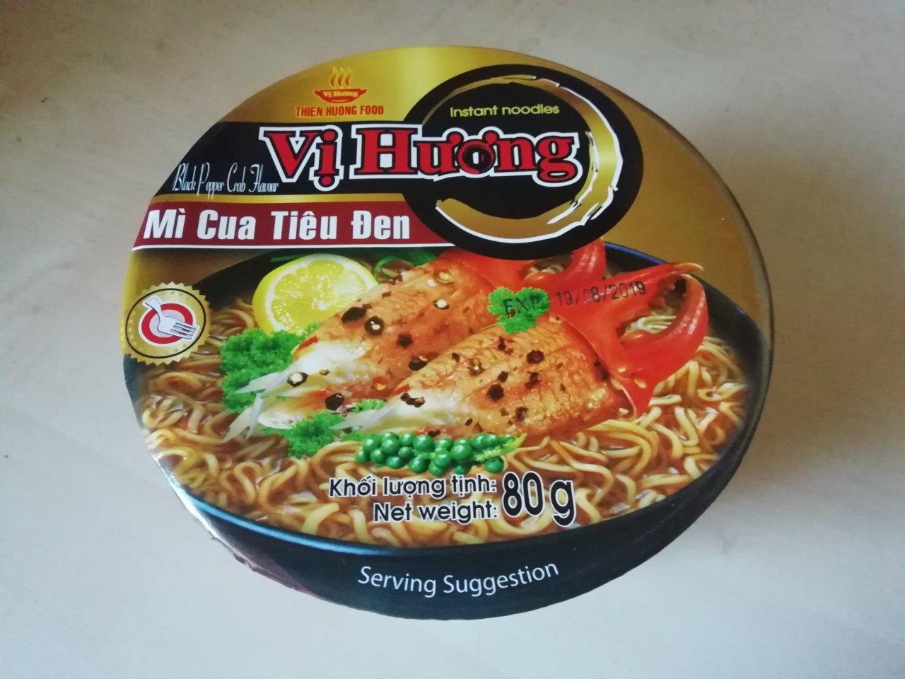 """#1625: Vi Huong Instant Noodles """"Black Pepper Crab Flavour"""" Bowl (Mì Cua Tiêu Đen)"""