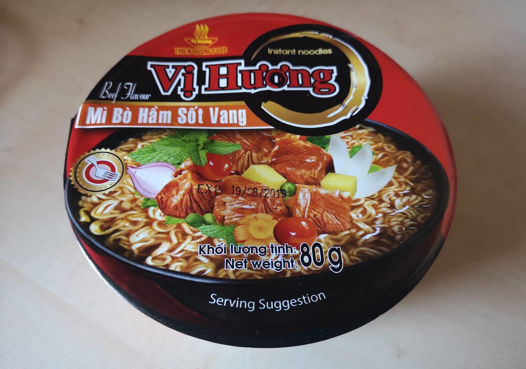 """#1642: Vi Huong Instant Noodles """"Beef Flavour"""" Bowl (Mì Bò Hầm Sốt Vang)"""