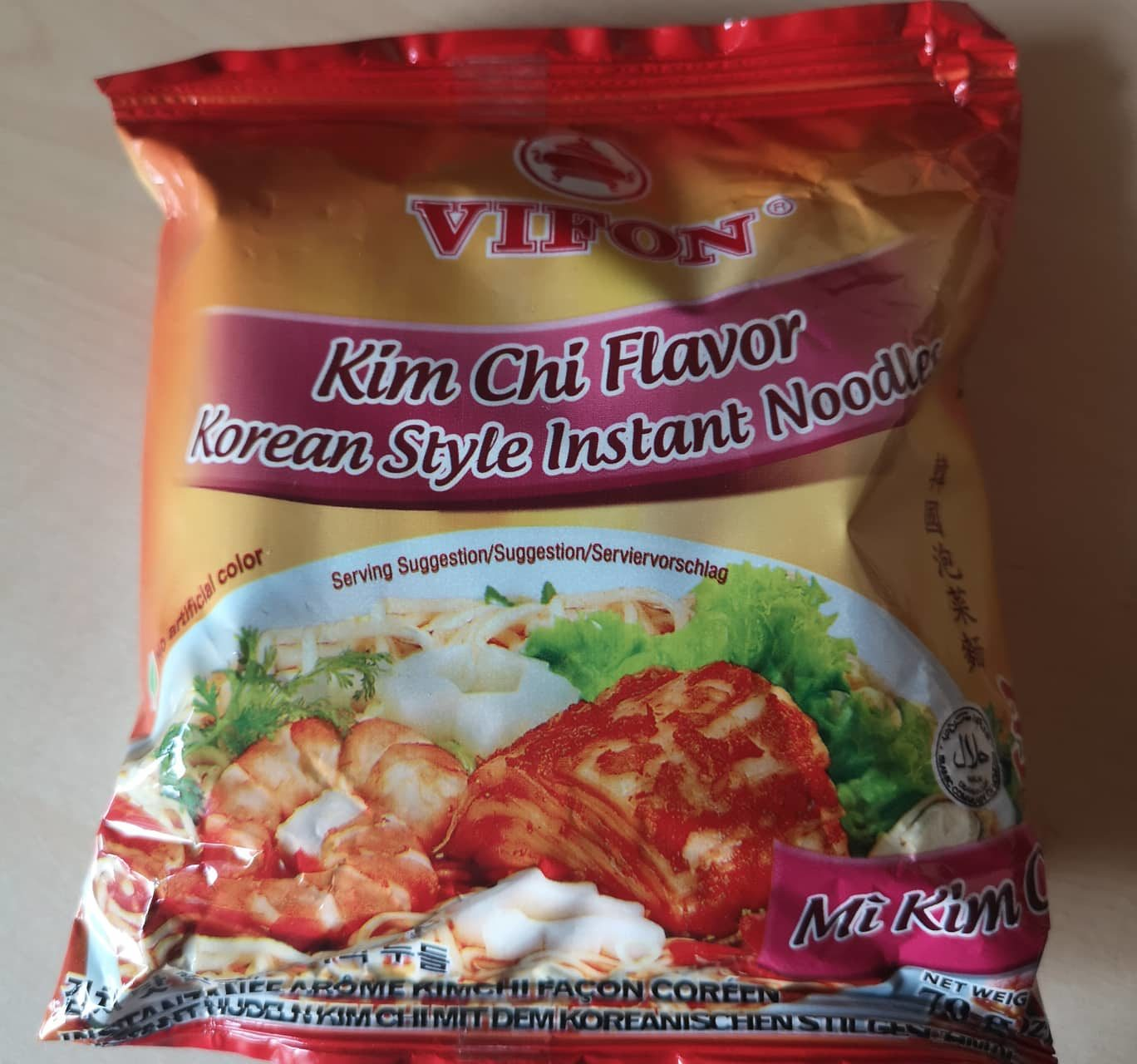 """#1697: Vifon """"Kim Chi Flavor Korean Style Instant Noodles"""" (Mì Kim Chi)  (Update 2021)"""