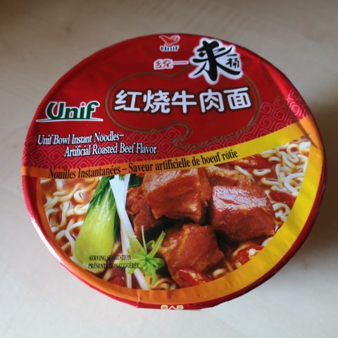 "#1983: Unif ""Bowl Instant Noodles – Artificial Roasted Beef Flavor"""